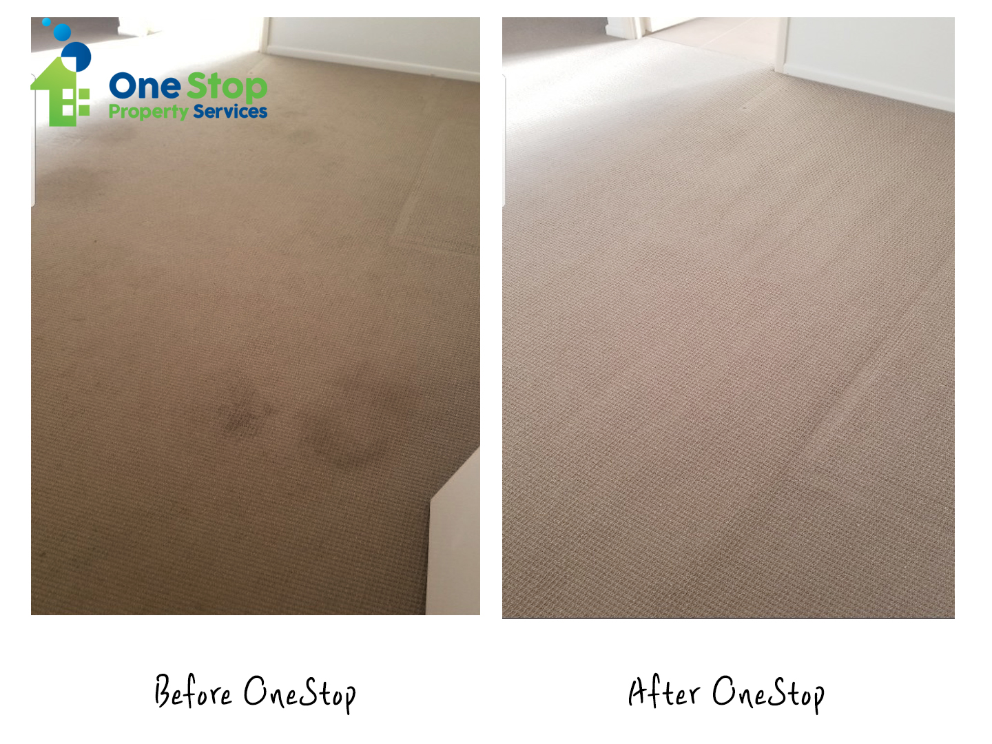 Before and after cleaning the light brown coloured carpet