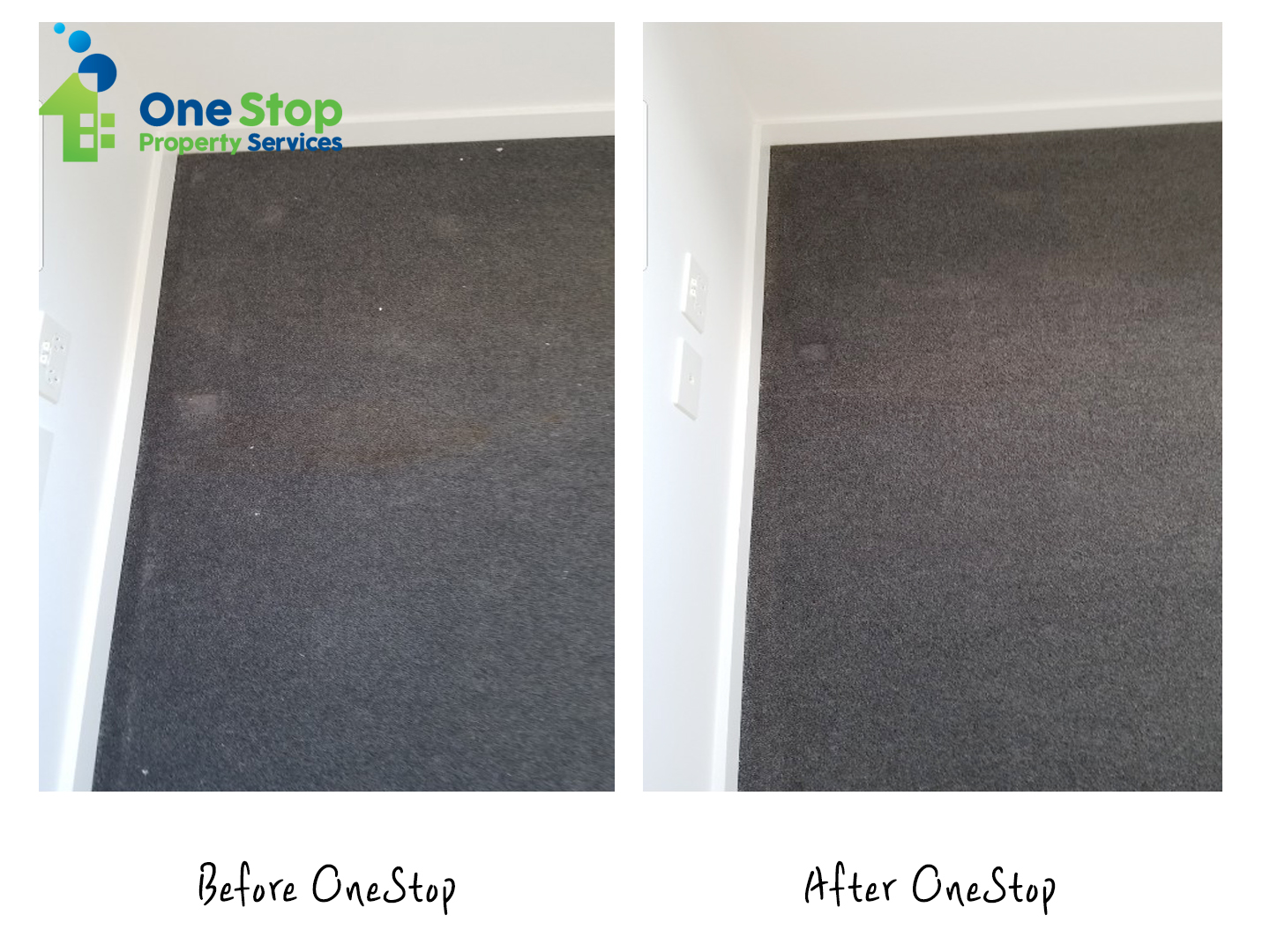 Before and after cleaning the dark grey carpet