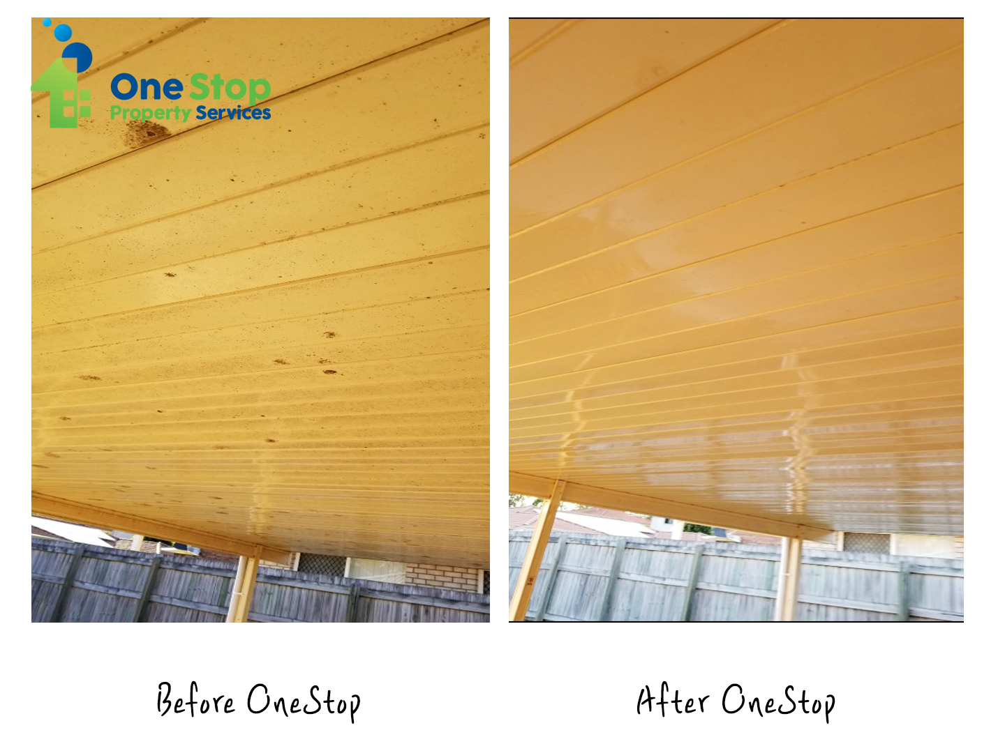 Before and after cleaning the yellow ceiling