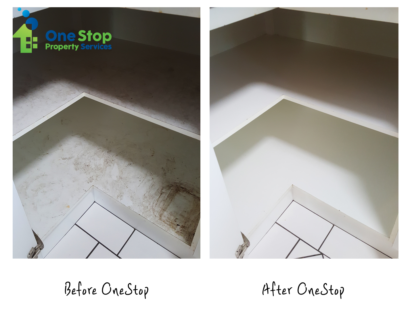 Before and after cleaning kitchen drawers