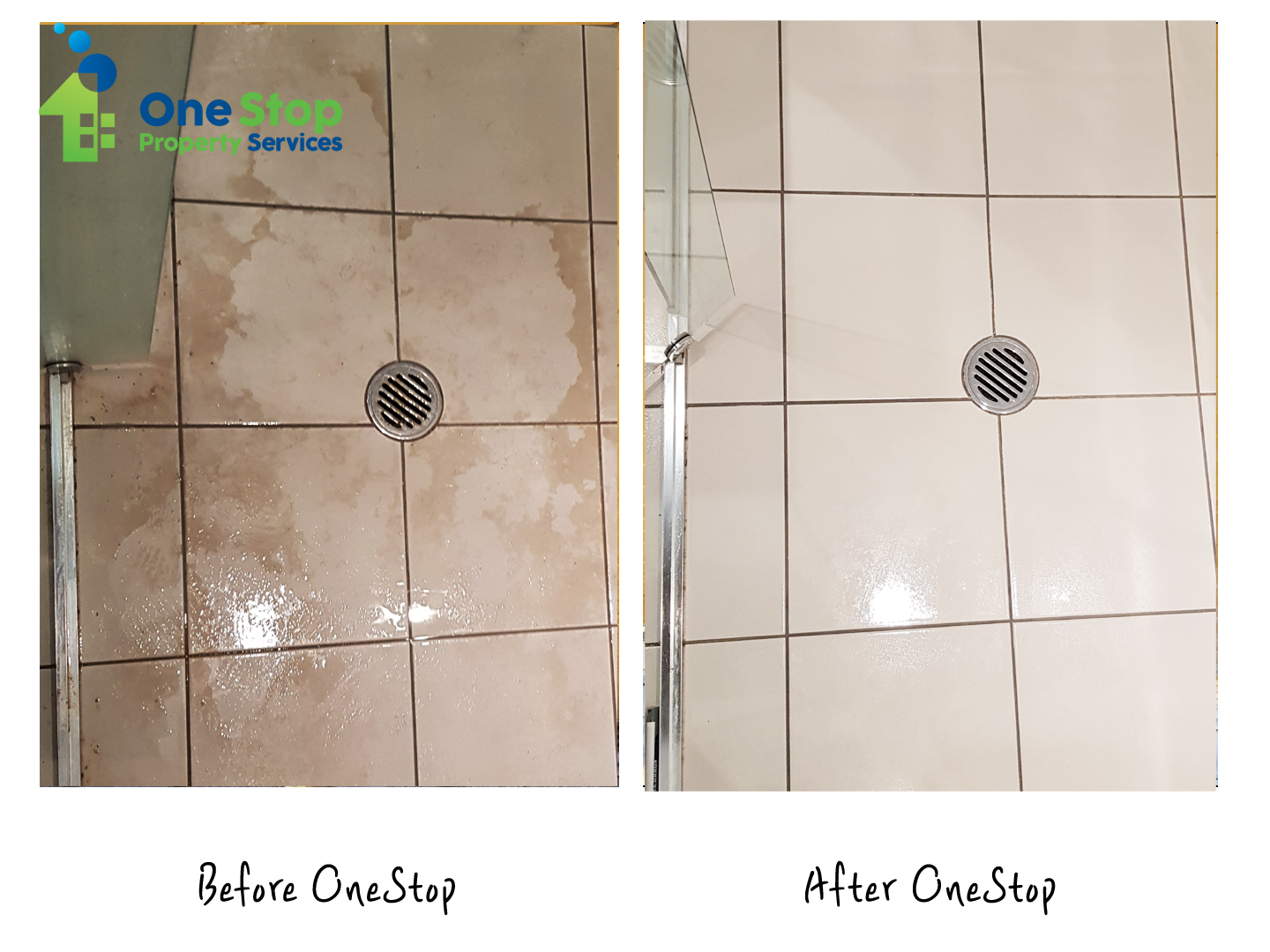 Before and after cleaning bathroom tiles