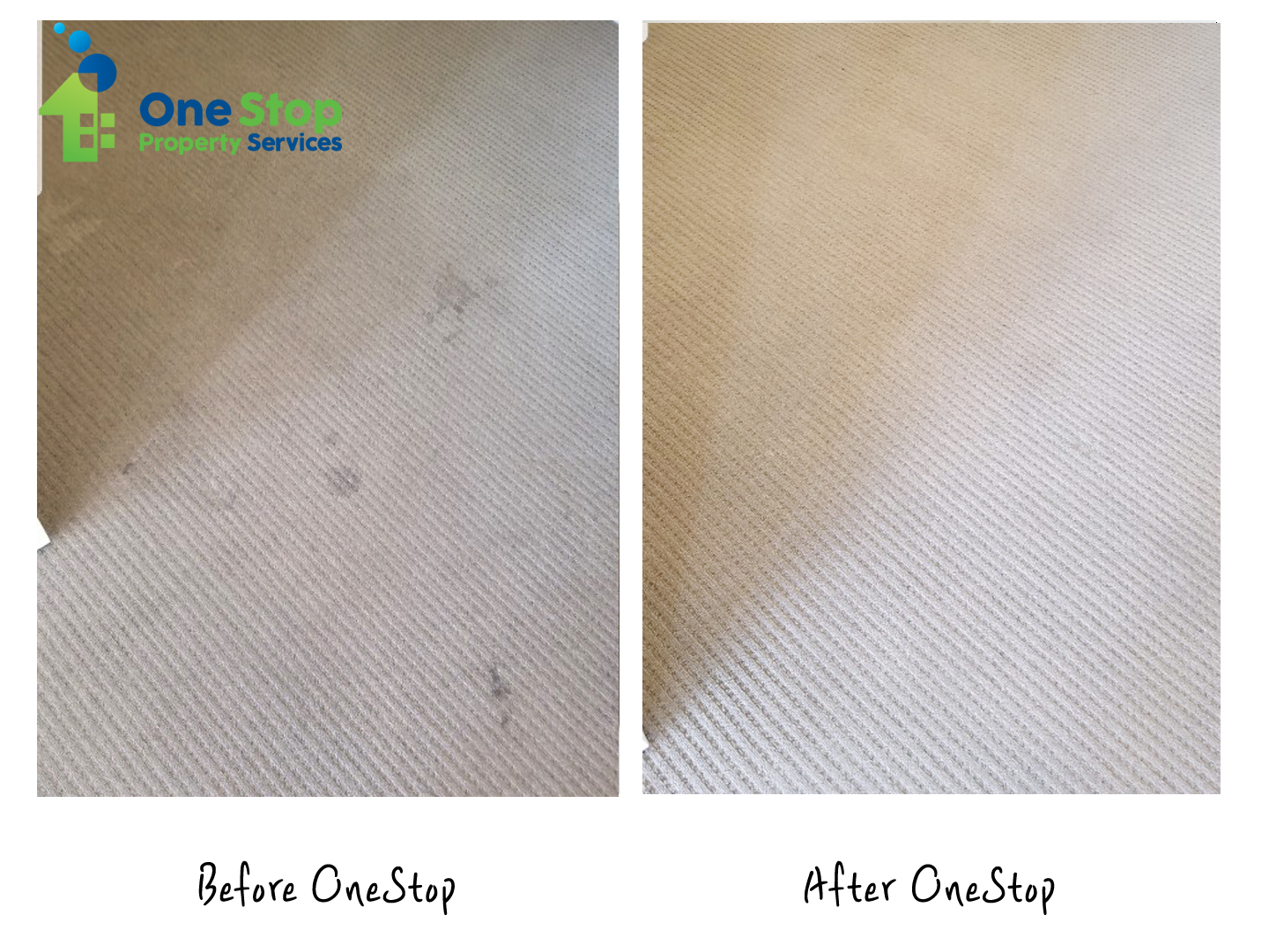 Before and after cleaning the ivory-colored carpet