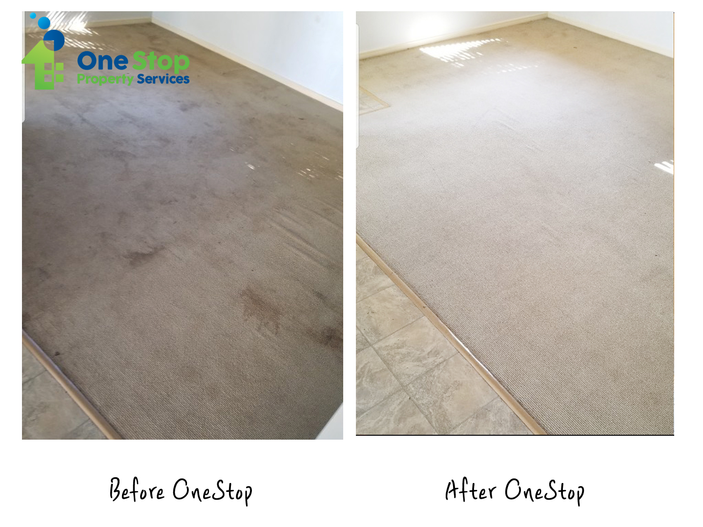 Before and after cleaning a dirty carpet