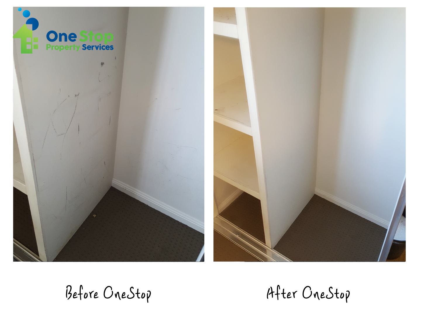 Before and after cleaning white walls