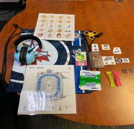 Photo of a sensory toolkit from the MTS Centre.