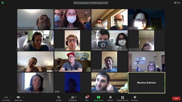 Image of GROW participants on a Zoom call with Special Guests.