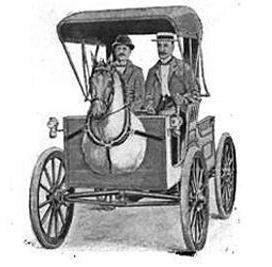 A hand-drawn sketch of a 1919 Horseless Carriage, a powered buggy with a mounted horsehead.
