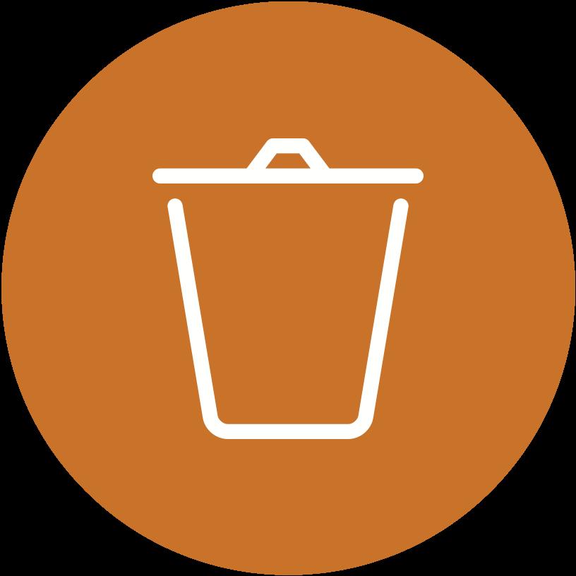 A stylized trashcan
