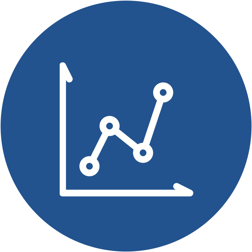 A stylized graphic of a line graph