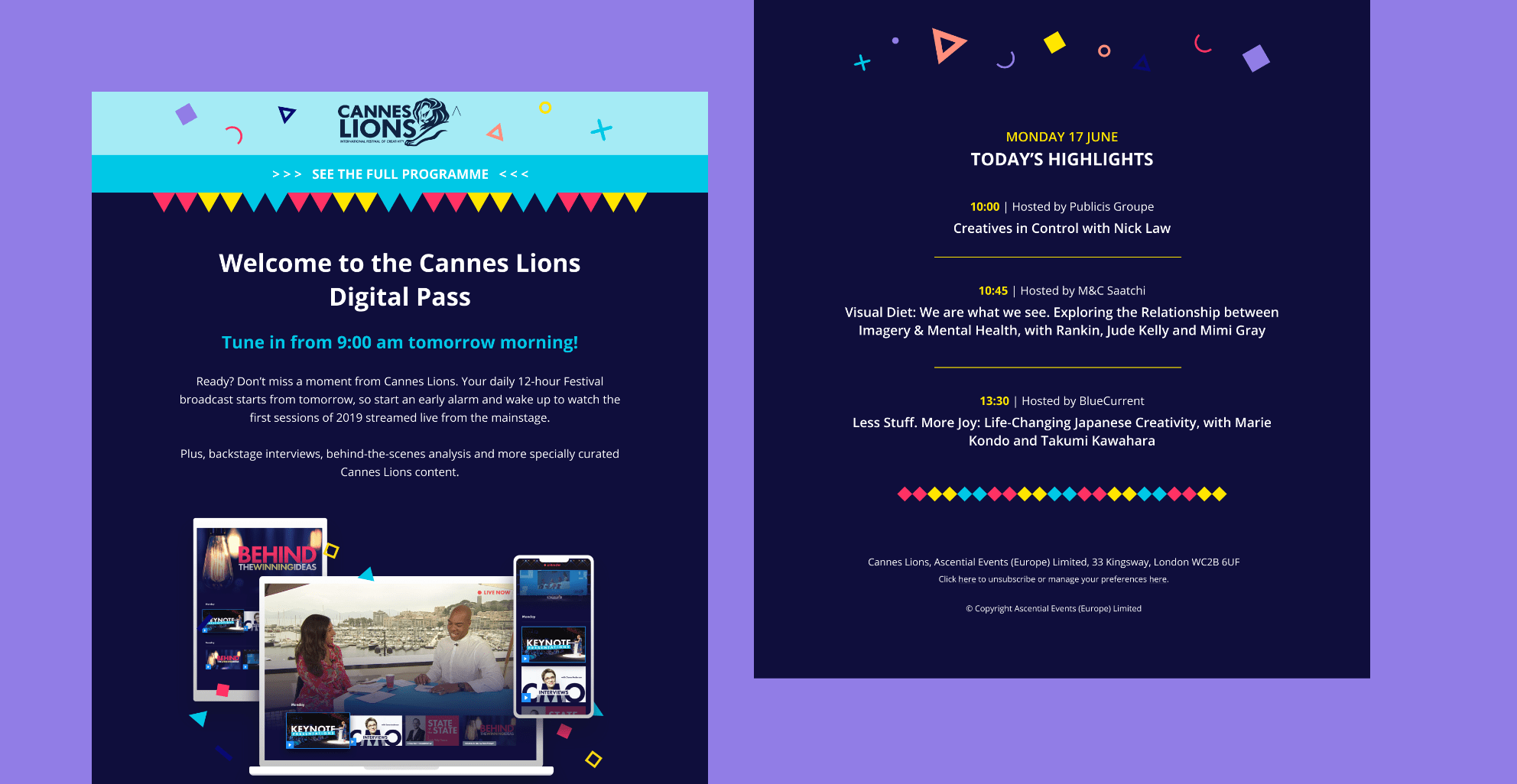 Cannes Lions email layout