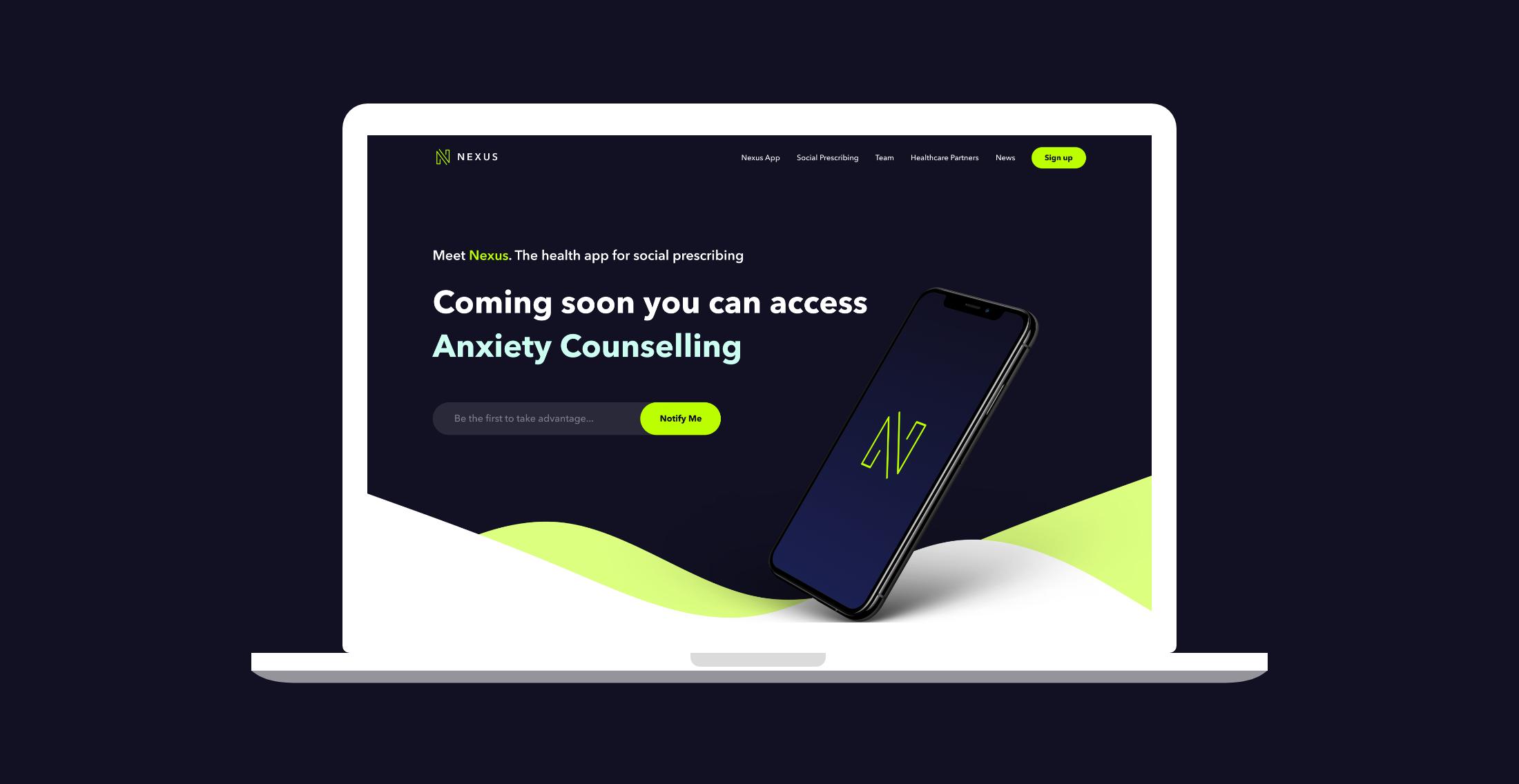 NEXUS website on laptop
