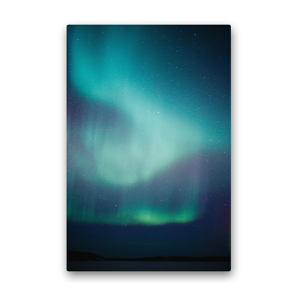 Aurora photo on metal.