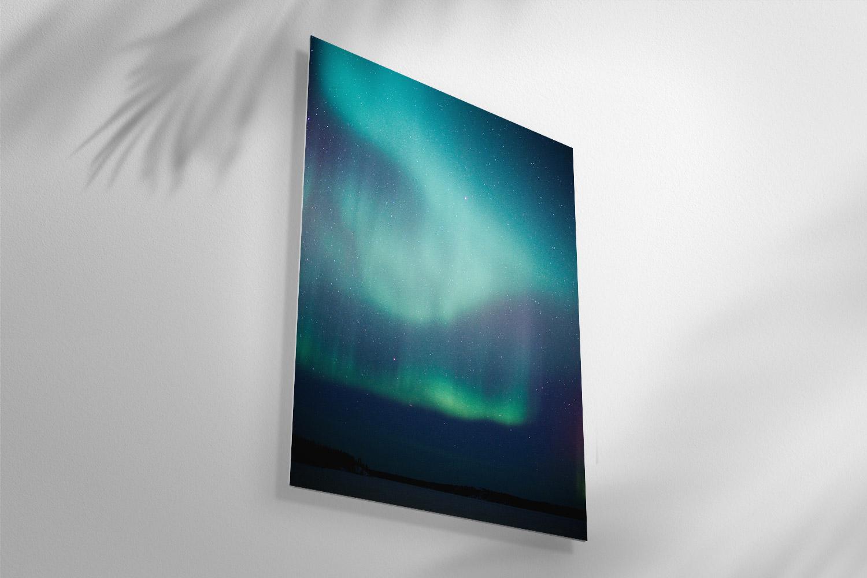 Aurora photo on metal.