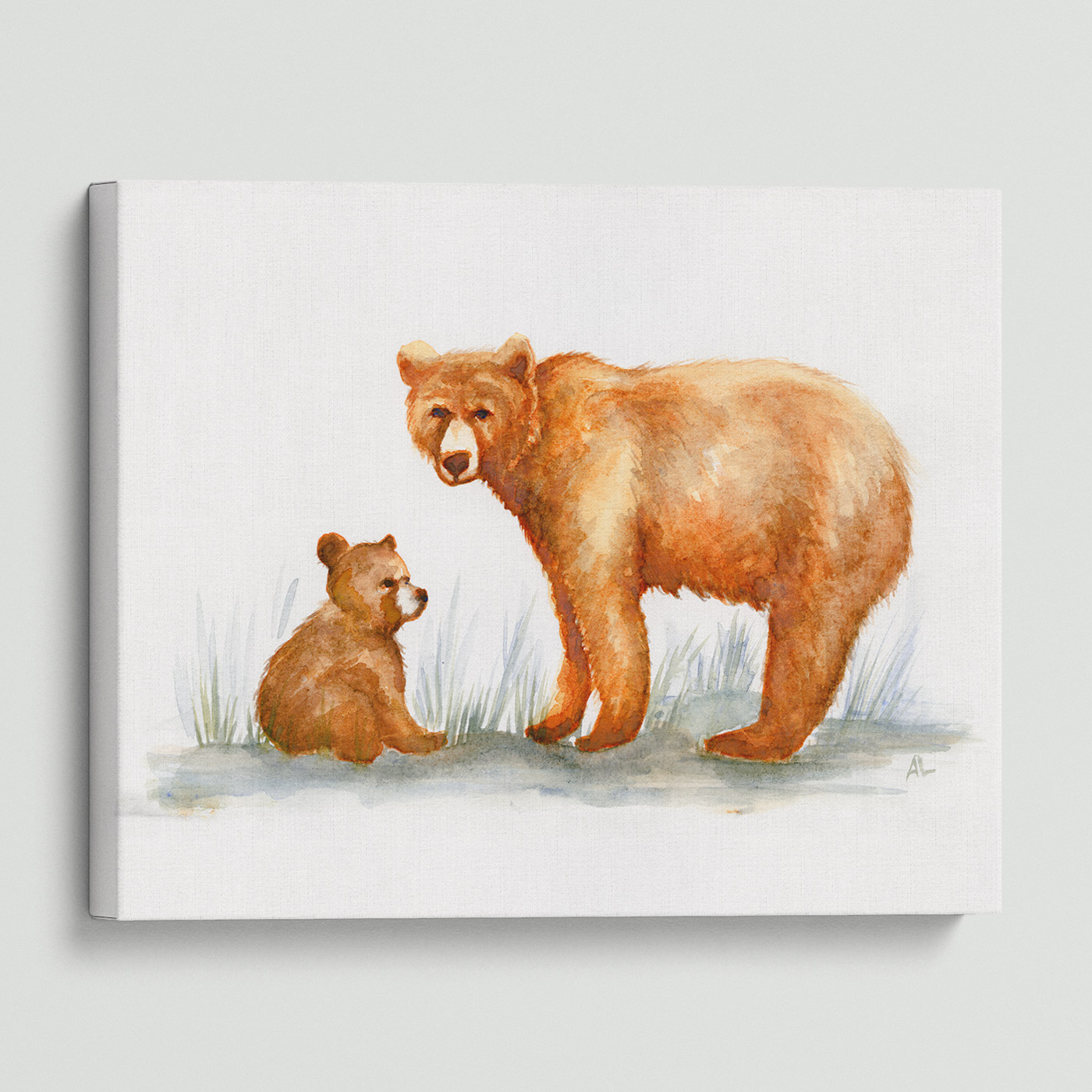 Water-colour print of A mama and baby cub.