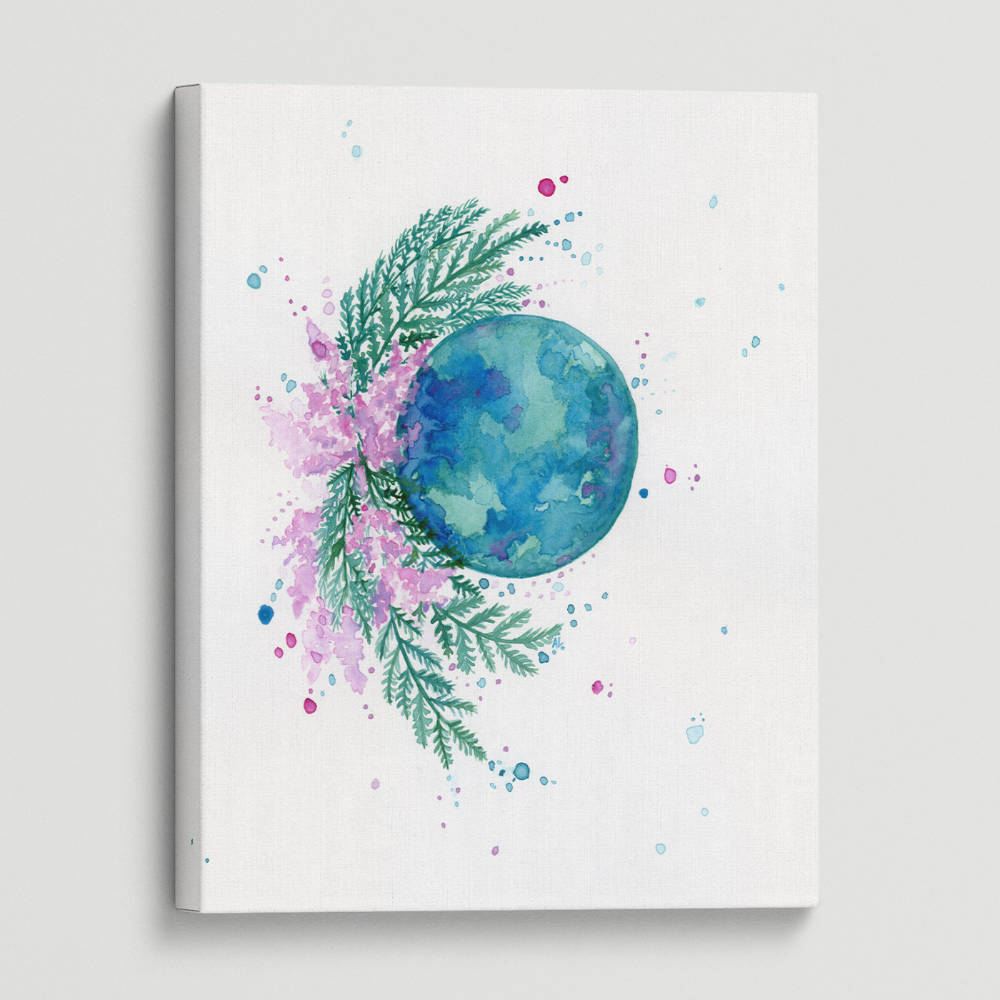 Water-colour print of delicate flowers encircles a vibrant teal moon.