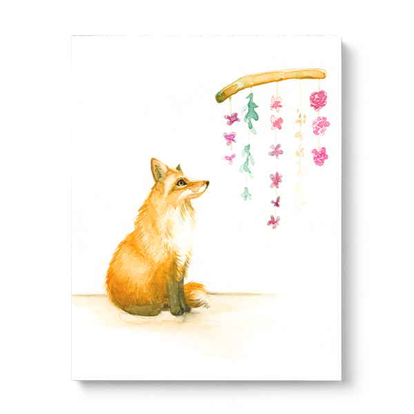 Water-colour print of a young fox smelling flowers.