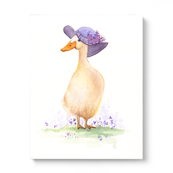 Water-colour print of mama duck.