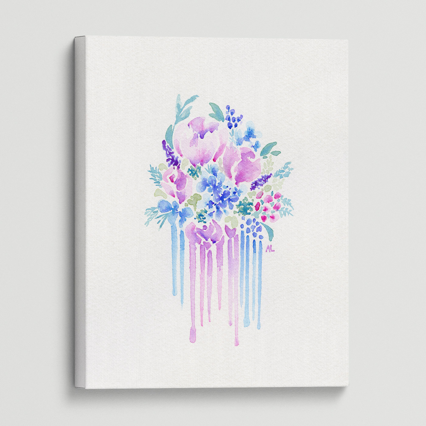 Water-colour print with gentle colours gives an ethereal feel to this floral artwork.