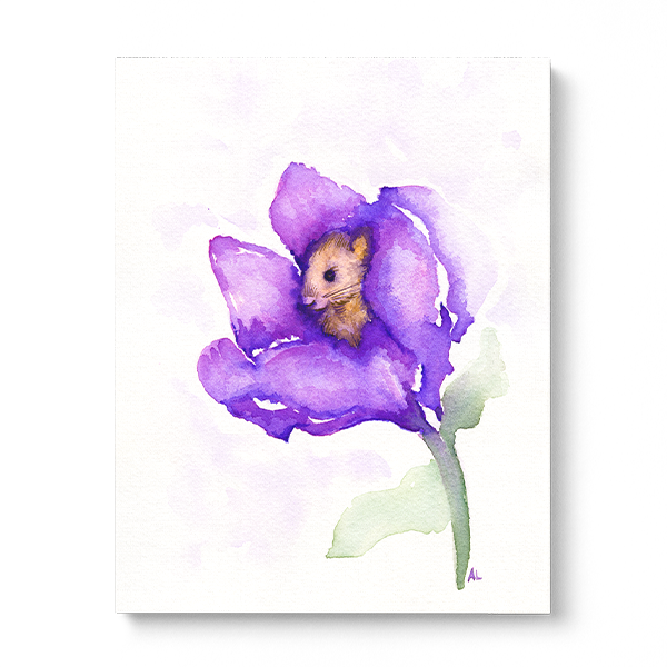 Water-colour print of a sweet, tiny mouse tucked away in a flower.