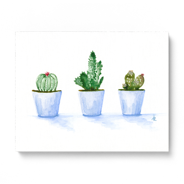 Water-colour print of cactus' in a row in a fine art print.