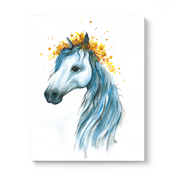 Water-colour print of a pegasus in a row in a fine art print.