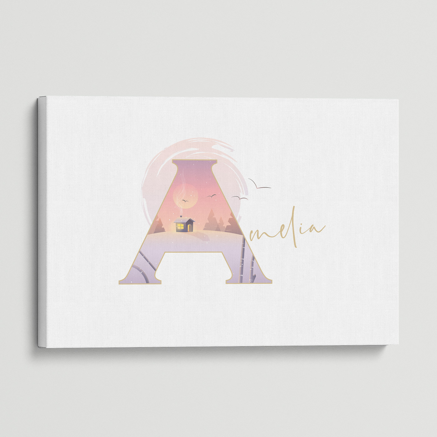 """Illustrated water-colour print of alphabet letter """"A""""."""