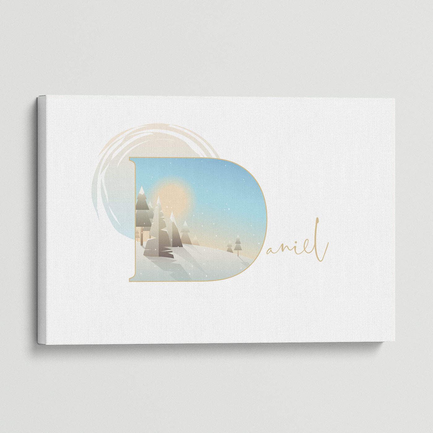 """Illustrated water-colour print of alphabet letter """"D""""."""