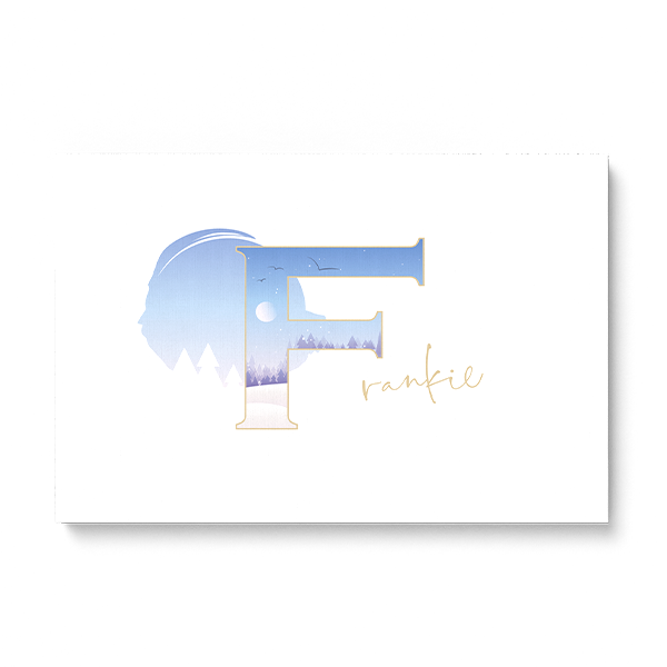 "Illustrated water-colour print of alphabet letter ""F""."