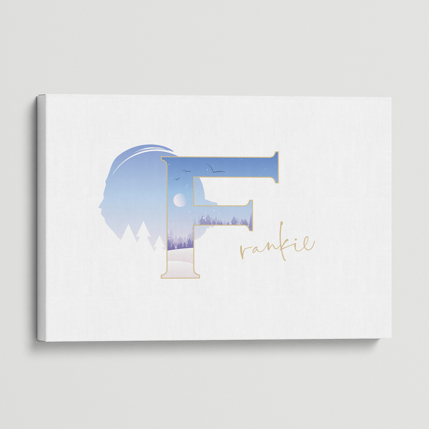 """Illustrated water-colour print of alphabet letter """"F""""."""
