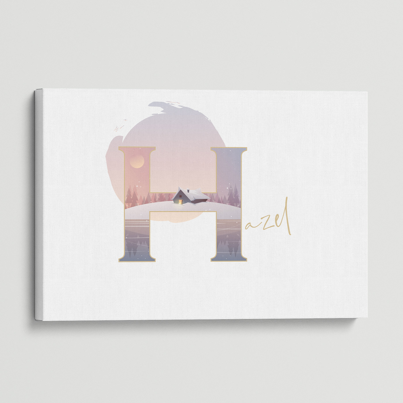 """Illustrated water-colour print of alphabet letter """"H""""."""