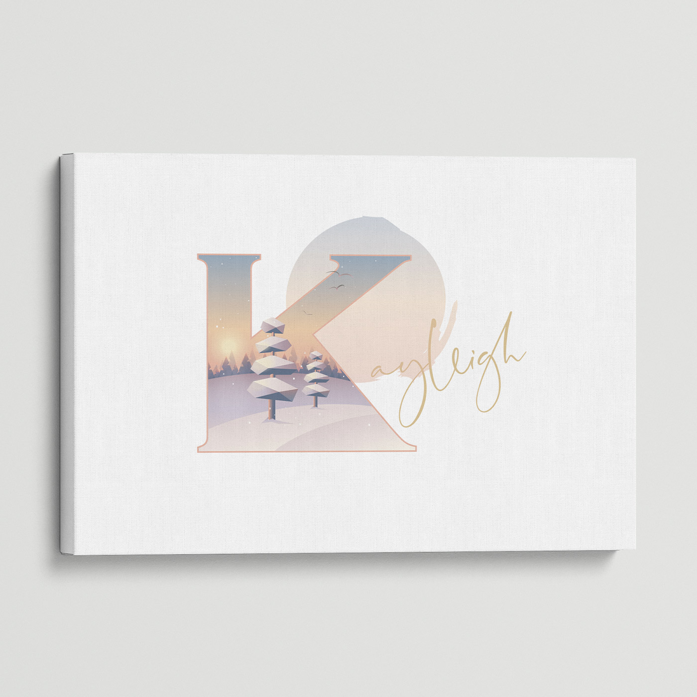 """Illustrated water-colour print of alphabet letter """"K""""."""