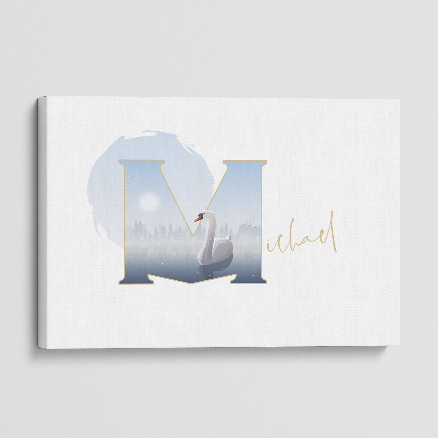"""Illustrated water-colour print of alphabet letter """"M""""."""
