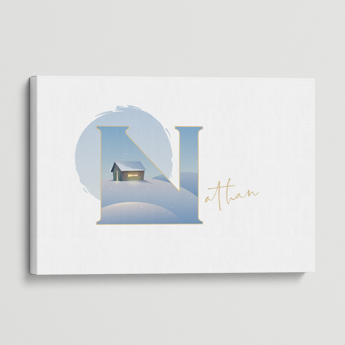 """Illustrated water-colour print of alphabet letter """"N""""."""