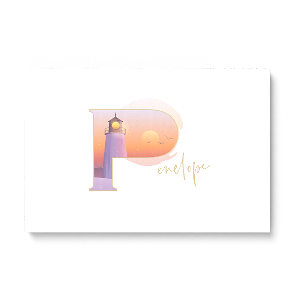 "Illustrated water-colour print of alphabet letter ""P""."