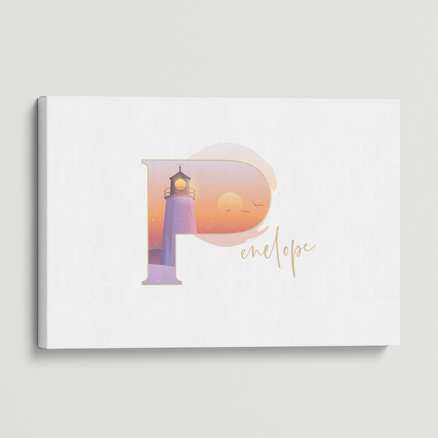 """Illustrated water-colour print of alphabet letter """"P""""."""