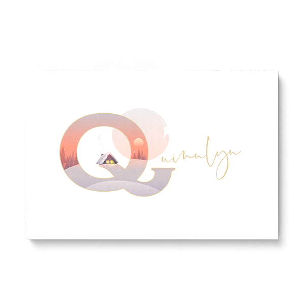 "Illustrated water-colour print of alphabet letter ""Q""."