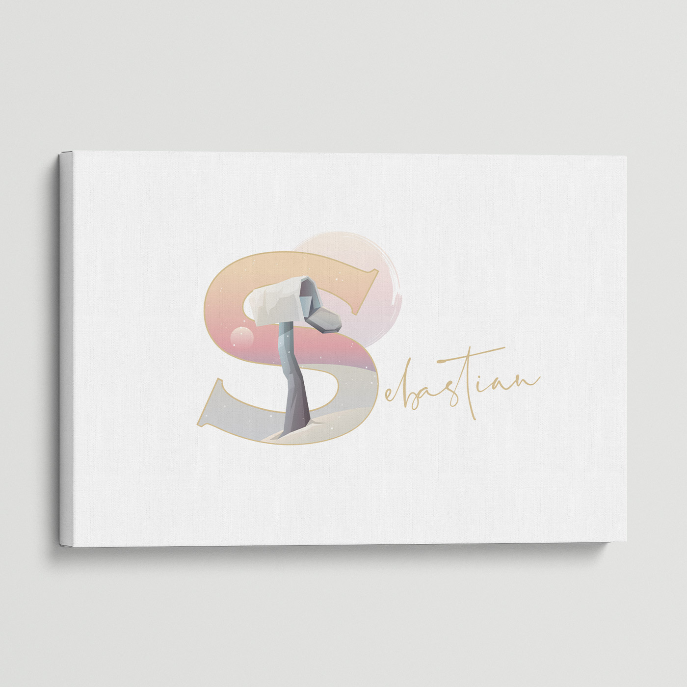 """Illustrated water-colour print of alphabet letter """"S""""."""