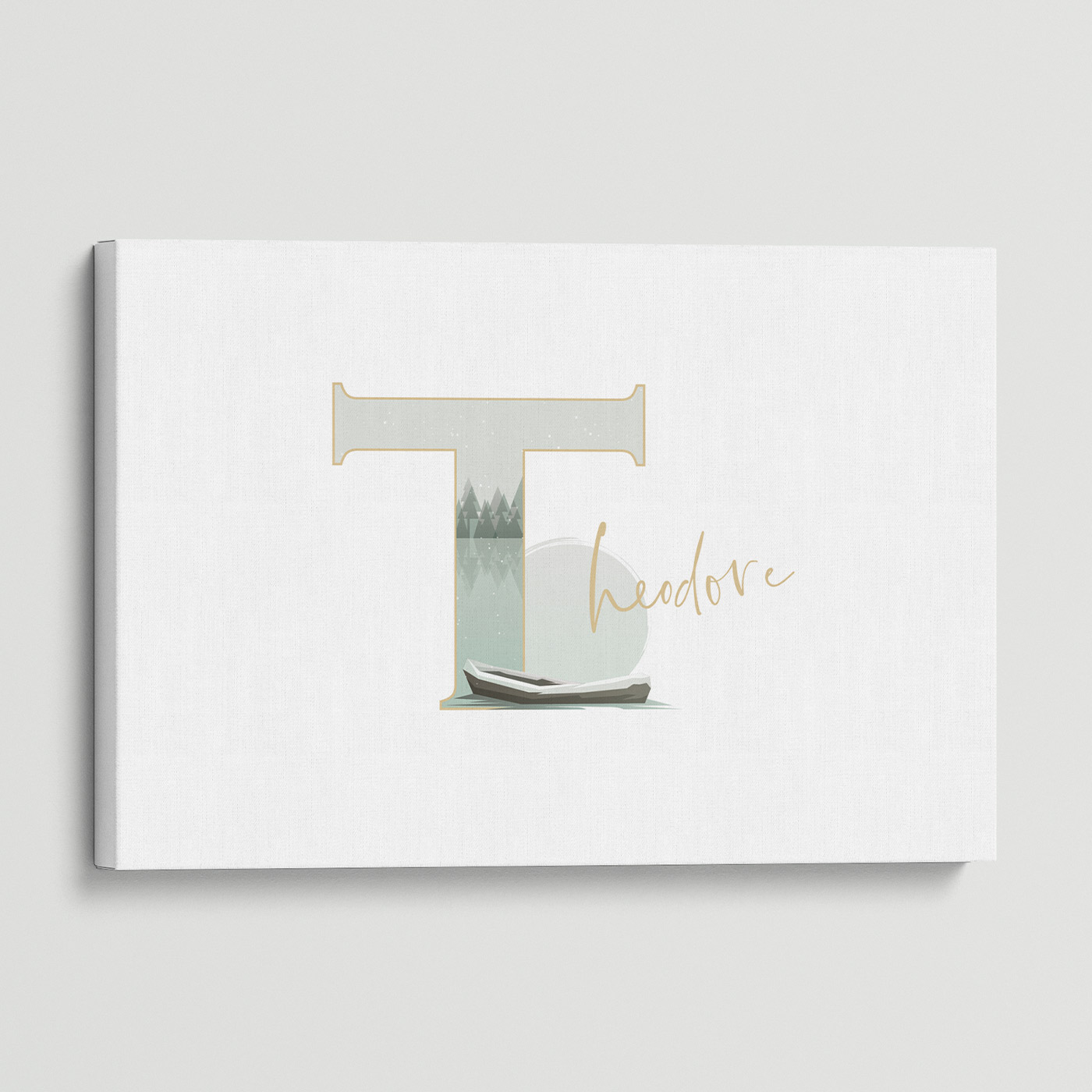 """Illustrated water-colour print of alphabet letter """"T""""."""