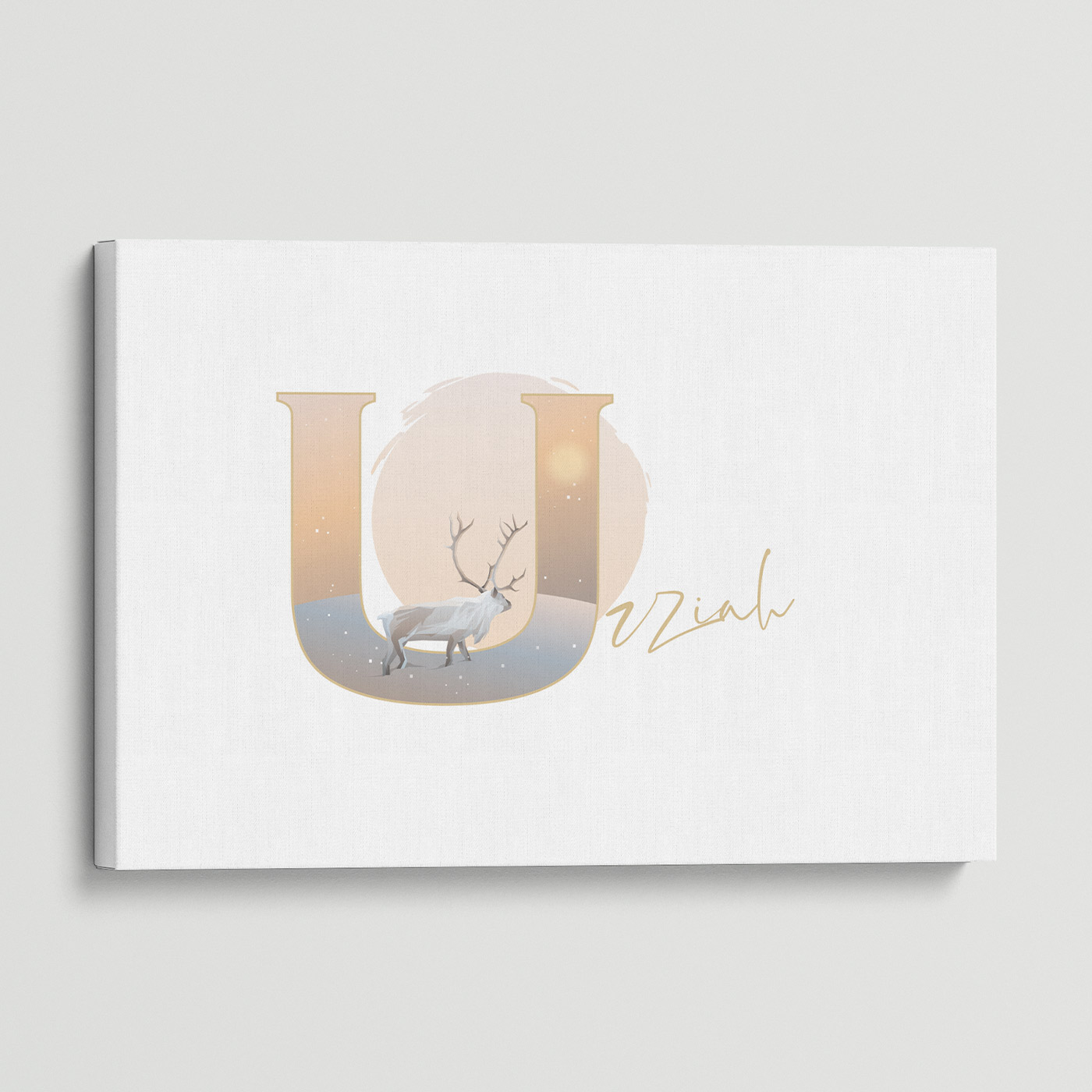 """Illustrated water-colour print of alphabet letter """"U""""."""