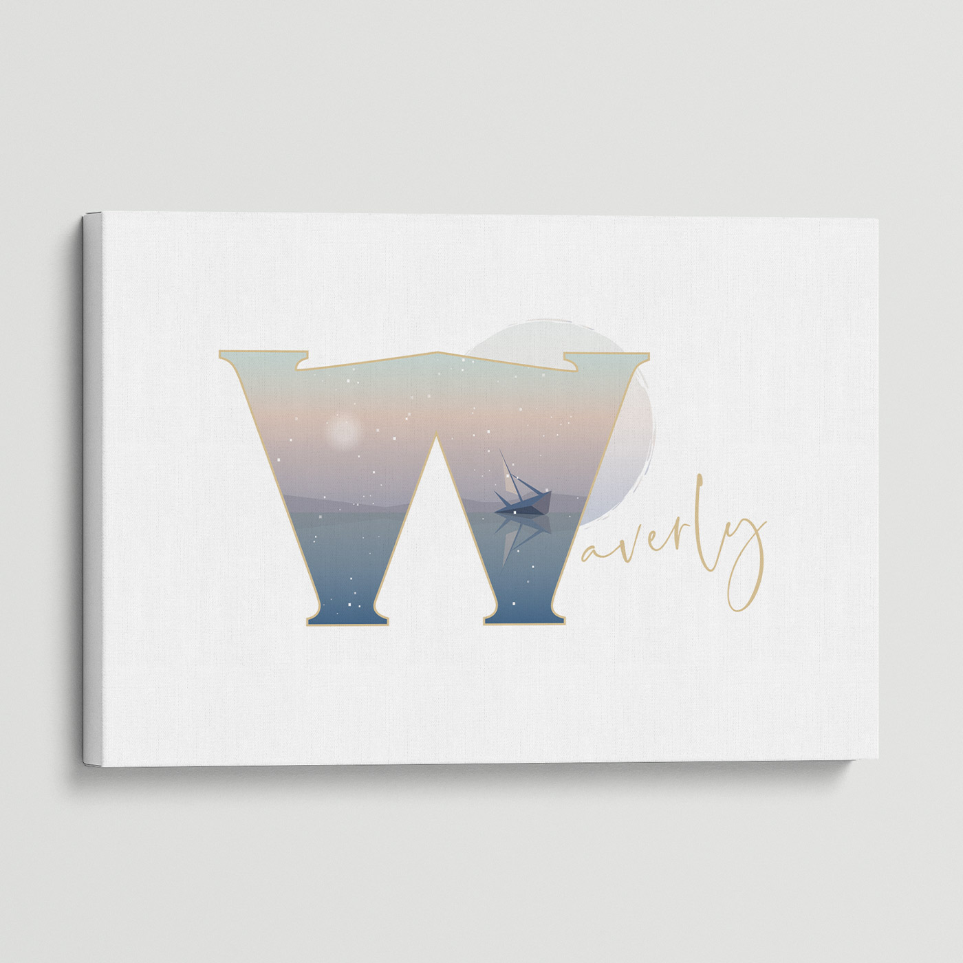 """Illustrated water-colour print of alphabet letter """"W""""."""