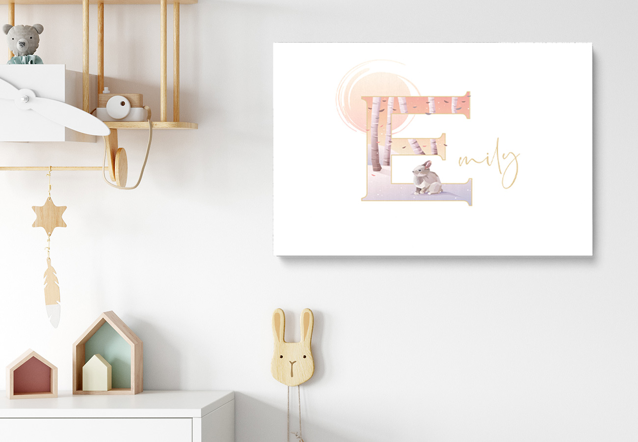 Children's names collection showing bedroom with sample artwork.