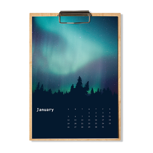 Example of aurora wooden calendar.