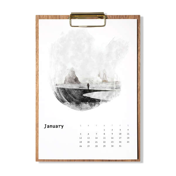 Example of water-colour wooden calendar.