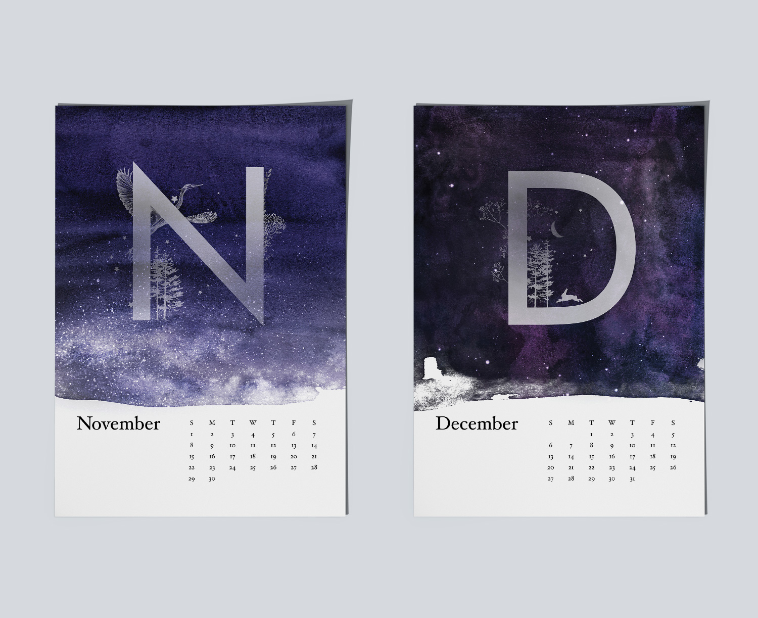 Example of magical night sky paintings for calendar.Example of magical night sky paintings for November and December months.