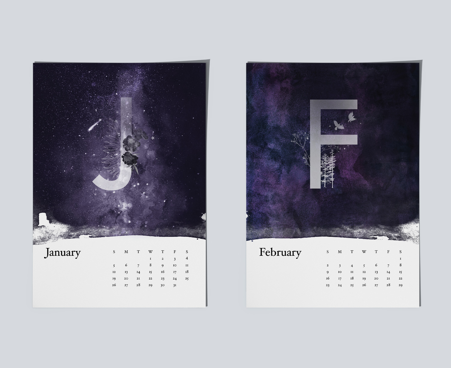 Example of magical night sky paintings for calendar.Example of magical night sky paintings for January and February months.