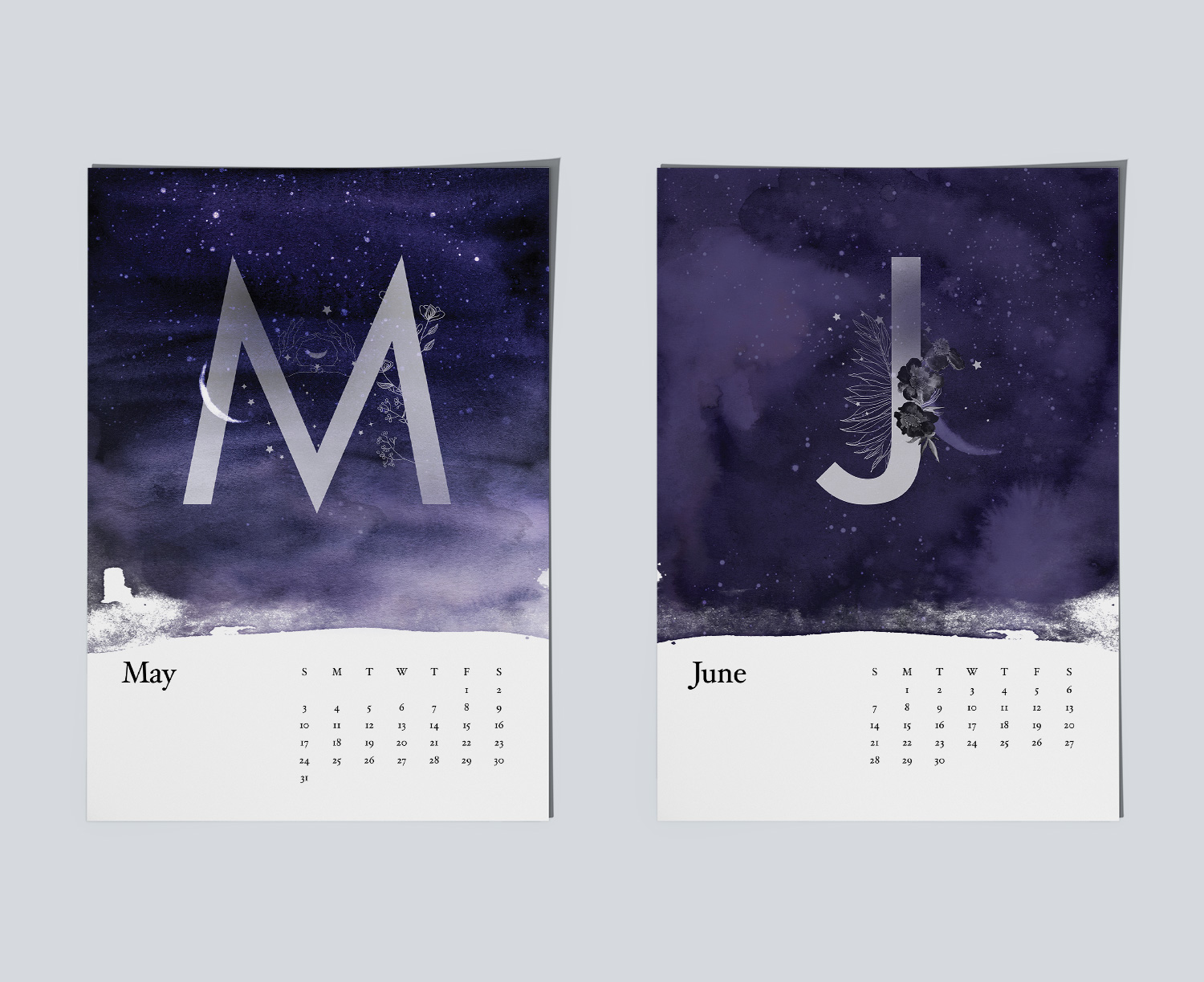 Example of magical night sky paintings for calendar.Example of magical night sky paintings for May and June months.