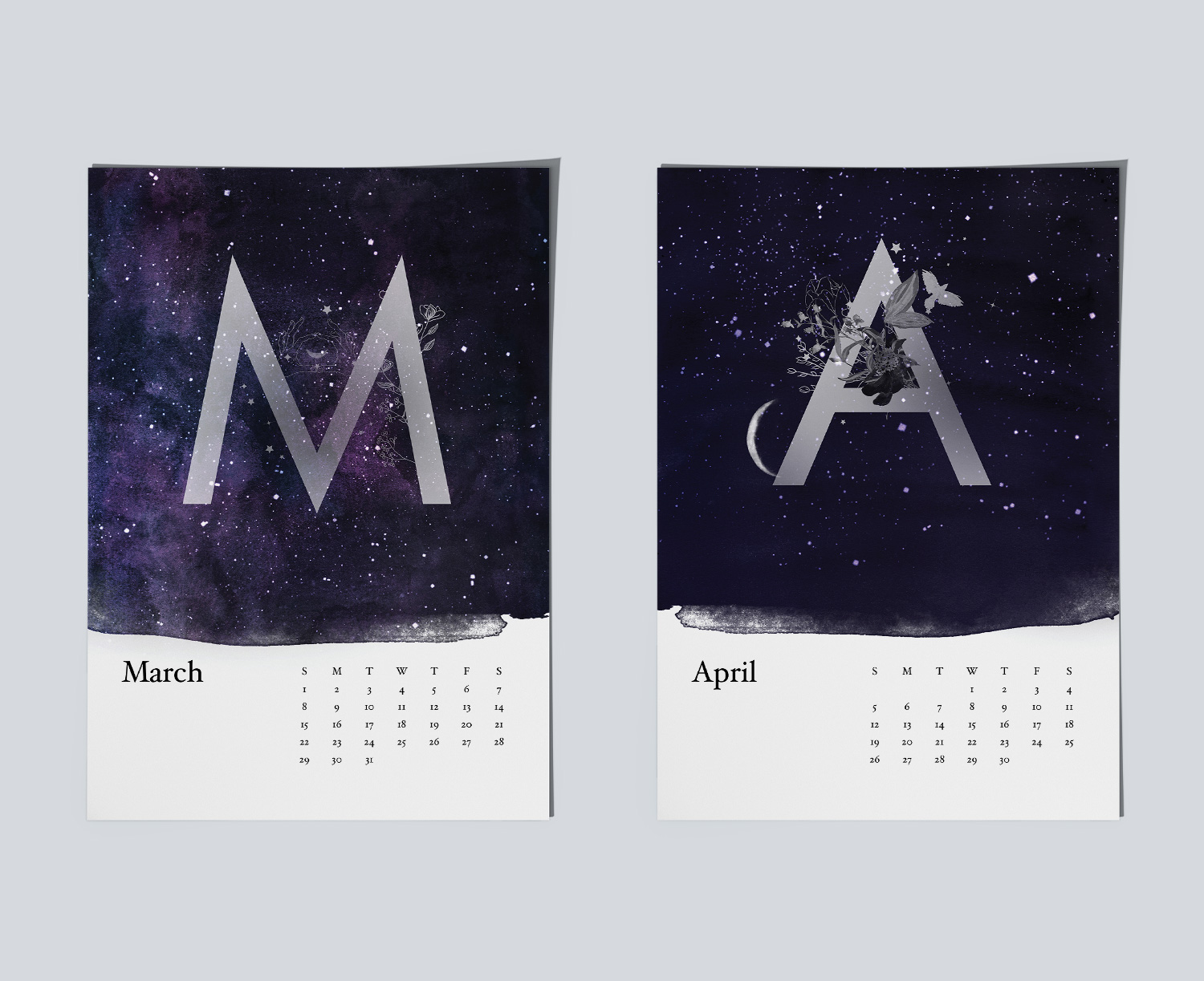Example of magical night sky paintings for calendar.Example of magical night sky paintings for March and April months.
