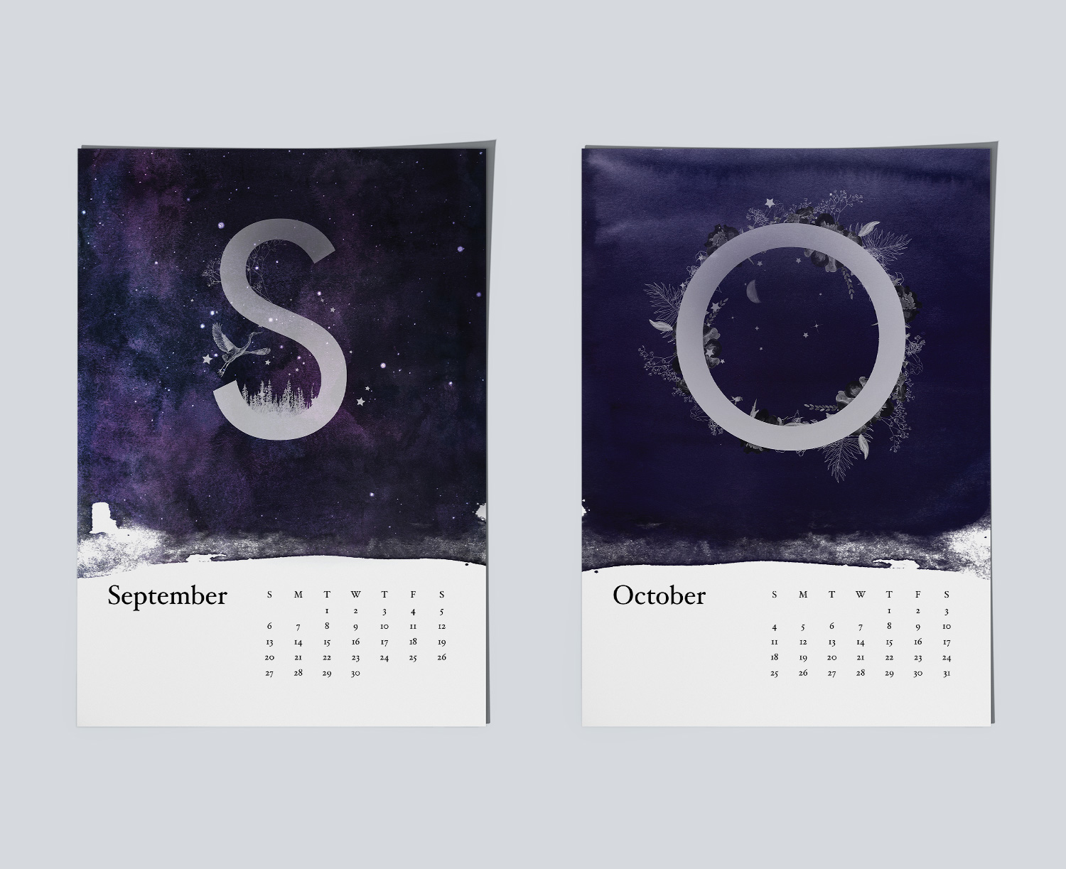 Example of magical night sky paintings for calendar.Example of magical night sky paintings for September and October months.