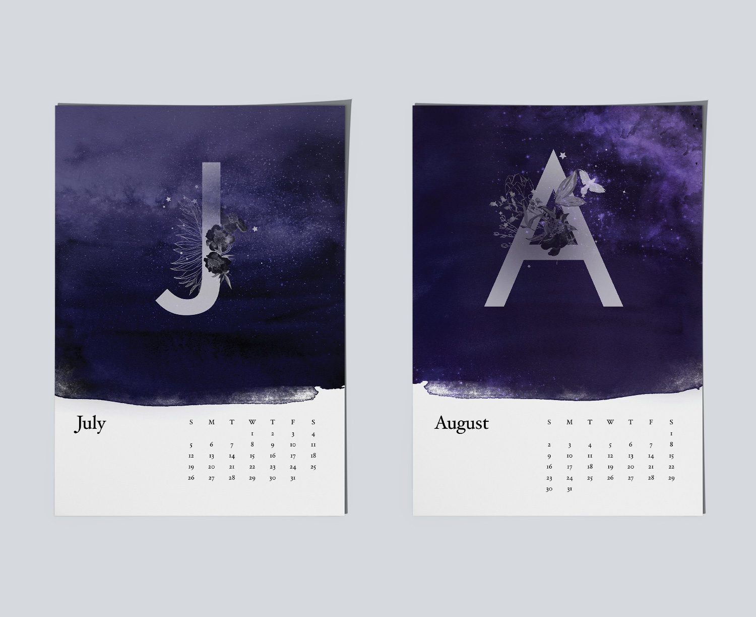 Example of magical night sky paintings for calendar.Example of magical night sky paintings for July and August months.
