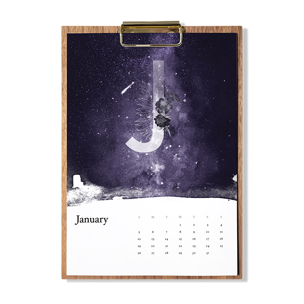 Example of magical night sky paintings wooden calendar.